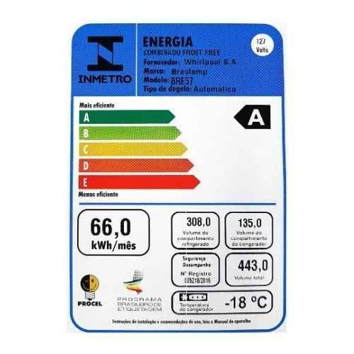 Selo Procel A de eficiência energética da geladeira Brastemp BRE57AK